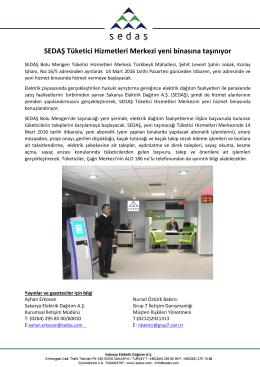 sedaş tüketici hizmetleri merkezi yeni binasına taşınıyor 2016-03-11
