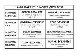 BURAK ECZANESİ 14-20 MART 2016 NÖBET ÇİZELGESİ