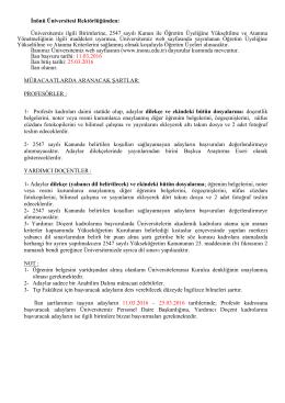 İnönü Üniversitesi Öğretim Üyesi Alım İlanı (11