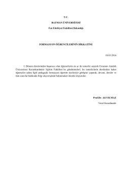 T.C. BATMAN ÜNİVERSİTESİ Fen Edebiyat Fakültesi Dekanlığı