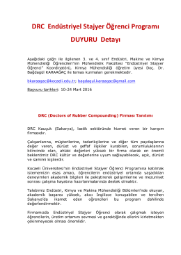DRC Endüstriyel Stajyer Öğrenci Programı DUYURU Detayı