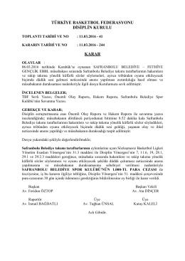 karar 244 safranbolu belediye – fethiye gençlik ebbl