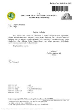 *BELC5ERKD* T.C. İSTANBUL ÜNİVERSİTESİ REKTÖRLÜĞÜ