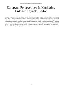 European Perspectives In Marketing Erdener Kaynak, Editor