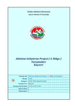 2002-2003 Doğumlu Kızlar - Türkiye Atletizm Federasyonu