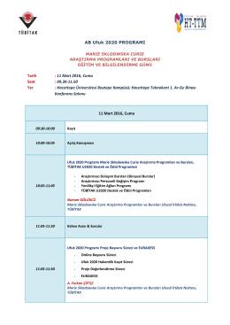 11 Mart 2016, Cuma Saat - AB Horizon 2020 Çerçeve Programı