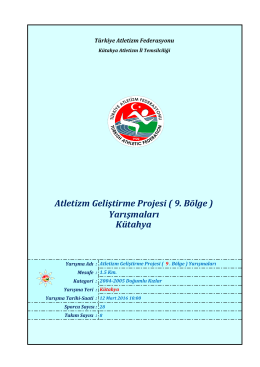 2004-2005 Doğumlu Kızlar - Türkiye Atletizm Federasyonu