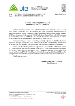 Sirküler No: 71 __ DOĞRUDAN KEFALET PROTOKOLÜ HK.
