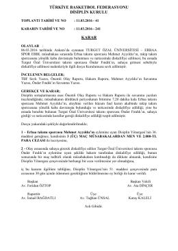 karar 241 turgut özal üniversitesi – erbaa spor ebbl