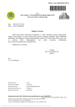 Adres Değişikliği - İstanbul Üniversitesi | Personel Daire Başkanlığı