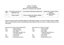 BURSA VALİLİĞİ Özel Kalem Müdürlüğü HİZMET STANDARTLARI