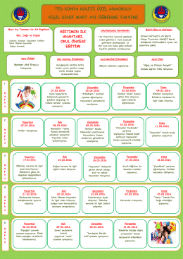 ted konya koleji özel anaokulu yeşil sınıf mart ayı öğrenme takvimi