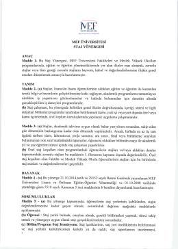 Staj Yönergesi - MEF Üniversitesi