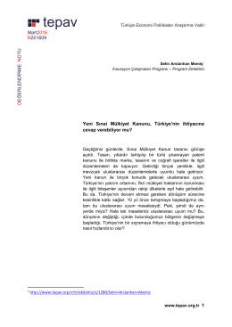 Yeni Sinai Mulkiyet Kanunu Turkiye nin ihtiyacina cevap