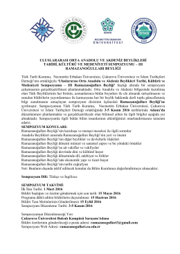 sempozyum duyurusu - Necmettin Erbakan Üniversitesi