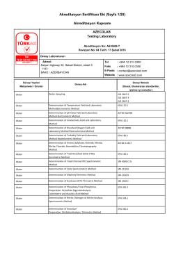 Akreditasyon Sertifikası Eki (Sayfa 1/20) Akreditasyon