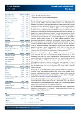 Piyasa Günlüğü - Türkiye İş Bankası A.Ş.