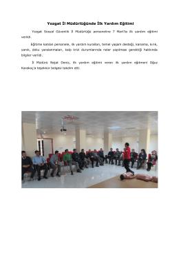 Yozgat İl Müdürlüğünde İlk Yardım Eğitimi