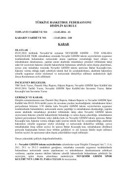 karar 240 nevşehir ghsim – ted ankara kolejliler tkbl