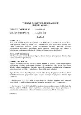 karar 242 akın çorap yeşilgiresun belediye