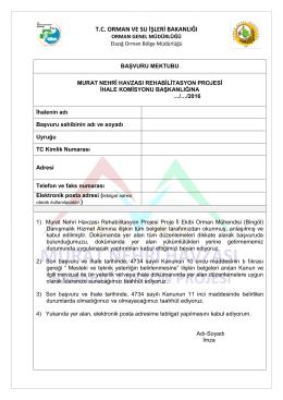 Başvuru Mektubu - Orman Genel Müdürlüğü
