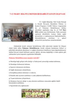 Pulmoner Rehabilitasyon Haftası - Tekirdağ Halk Sağlığı Müdürlüğü